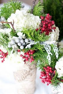 Christmas arrangements: hydrangea, pick pepper berries, cedar, dusty miller and silver brunia -- beautiful Christmas Floral Designs, Christmas Floral Arrangements, Christmas Flowers, Winter Flowers, Noel Christmas, White Christmas, Flower Arrangements, Magical Christmas, Beautiful Christmas