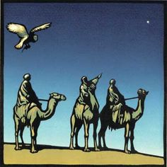 Three Wise Men (Through the Animals Eyes - Nativity Story) - Linocut by Chris Wormell