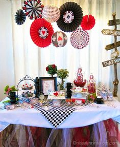 Alice in Wonderland  birthday party dessert table! See more party planning ideas at CatchMyParty.com!