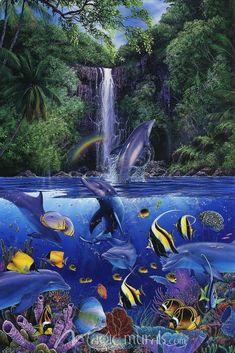 Eternal Rainbow Sea I - Dolphin Art, Dolphin Painting, Ocean Wallpaper, Animal Wallpaper, Iphone Wallpaper, Sea Murals, Wall Murals, Koi Fish Drawing, Underwater Art