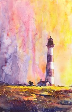 Watercolor painting of Bodie Island Lighthouse by RFoxWatercolors, $39.99