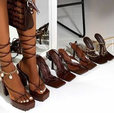 Black Girl Fashion, Look Fashion, Fashion Shoes, Fashion Outfits, Lace Up Heels, High Heels, Aesthetic Shoes, Hype Shoes, Stiletto Pumps