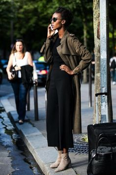 Le Fashion Blog Fall Style Sunglasses Long Trench Coat Black Sweater Culotte Pants Neutral Suede Ankle Boots Via Sandra Sembur