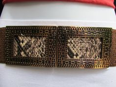 Black / Brown Hip Waist Stretch Belt Snake Print Moroccan Buckle Style Women Fashion Accessories Size S M