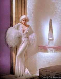 Jean Harlow color photo print ad portrait movie star icon boudoir robe white fur silk satin 30s art deco