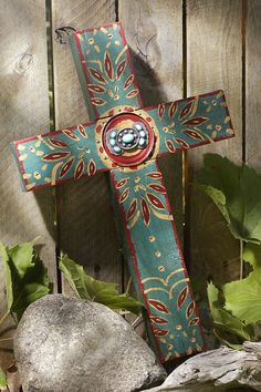 Rustic Teal Concho Cross with Turquoise – Celebrate Faith