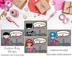 Valentine Printable - Superhero Valentines - Personalized Valentine's Day Cards - Printable Valentine Card PDF File - Valentine Printable by CreativePartyDesigns on Etsy