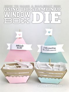 VIDEO: How to create a Sailboat Gift Box with the Window Box Die   Stampin Up Demonstrator - Tami White - ——— S U P P L I E S ——— • Window Box Thinlits Dies 142762 • Moon Baby Clear-Mount Stamp Set 143085 • Basic Gray Archival Stampin' Pad #140932