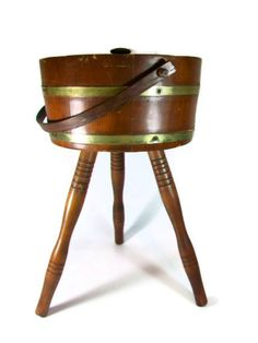 Sewing Box Stand Barrel Sewing Box Wood Wooden by A2ndlifeVintage, $30.00