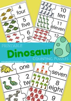 Dinosaur Counting Cards For Preschool 1 – 12 I couldn't wait for tomorrow so here is another Dinosaur Download. This time counting puzzles from 1 to 12. Just cut them out and have the c…
