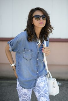 #Denim #Shirt & #Printed #Pant #Style #Fashion #Women