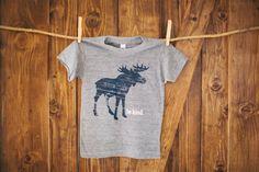 Be Kind  Kids Apparel  Moose TShirt  Size 2 Gray by BeKindMovement