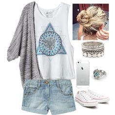 #summer #outfits / Grey Cardigan + Denim Shorts