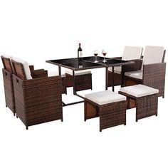 9 PC Mix Brown Patio Garden Rattan Wicker Sofa Set Furniture Cushioned W/Ottoman