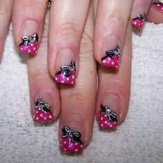 nail art bow... Reminds me of Minnie Mouse