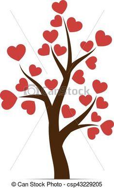 Amor, hojas, árbol, corazón. Corazón, amor, hojas, árbol, aislado ... Art Drawings For Kids, Doodle Drawings, Easy Drawings, Applique Patterns, Applique Quilts, Thermocol Craft, Heart Shapes Template, Valentine Crafts, Valentines
