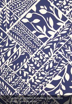 Loggia wallpaper from Meg Braff Designs in navy on white