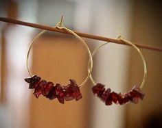 Garnet Earrings, Ruby Earrings, Crystal Earrings, Boho Earrings, Raw Stone Earrings, January Birthstone, Geode Earrings, Hoop Earrings