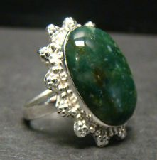 LARGE GREEN GEMSTONE CABOCHON OPAQUE RING 7.9g STERLING SILVER 925 SIZE 6.5