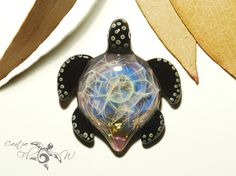 Glass Pendant  Purple Moonstone Turtle by CreativeFlowGlass