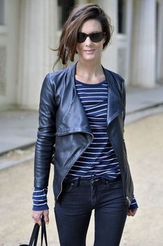 Love the striped shirt. The asymmetrical look is fun. Wonder if it would look good on a fuller bust line?