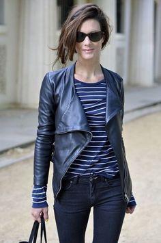 Stretch Skinny jeans, klassischen gestreiften T durch einem Zug von einzigartigen Stil, darüber hinaus die zeitlos glamouröse Leder moto Janker