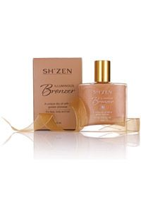 The Sh'Zen Illuminous Bronzer gives your face, hair and body a golden shimmer with this unique dry oil.