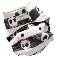 This mama makes wicked awesome cloth diapers! Nightmare Before Christmas One Size Pocket Cloth Diaper with Bamboo Organic Cotton inserts.