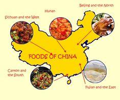 """""""Gastronomía por región: Sichuan y el oeste, Beijing y el norte, Canton y el sur, Fujian y el oeste y Hunan."""""""