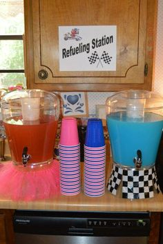 Racecars or Ruffles gender reveal party theme decorations