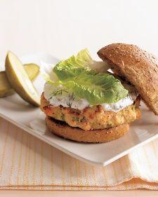 Lemon, horseradish, and scallions brighten these healthful salmon burgers with yogurt dill sauce
