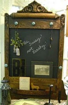 .I could use vintage dresser mirror as chalkboard frame