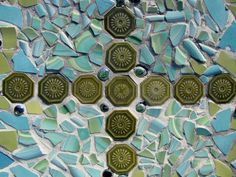 Top of outside mosaic table - vintage tile and smashed china