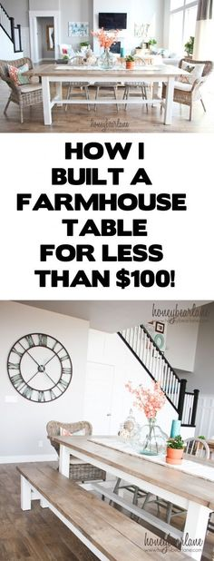*** LOVE the black and white banister!!  the table and bench are perfect too!     I built a farmhouse table for less than $100