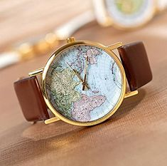 World Map Globe Fashion Leather Alloy Womens Analog Quartz Watches Brown >>> You can get additional details at the image link.