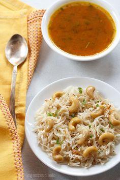 kaju pulao recipe with step by step photos. simple, easy & tasty one pot cashew pulao recipe. kaju pulao is one of the simplest pulao recipe. Vegan Indian Recipes, Indian Dessert Recipes, Ethnic Recipes, Lunch Recipes, Cooking Recipes, Rice Recipes, What's Cooking, Vegetarian Cooking, Vegetarian Recipes
