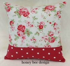 Cath Kidston Rosali Floral White Dotty cushion cover with Concealed zip fasting | eBay