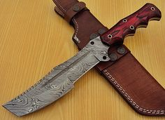 Hand Made Beautiful Damascus Hunting  knife via custom knives. Click on the image to see more!