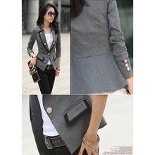 Nueva moda 2015 primavera de corea mujeres chaqueta de traje doble botonadura abrigo corto para mujer de la oficina Blazer negro / gris tamaño grande(China (Mainland))