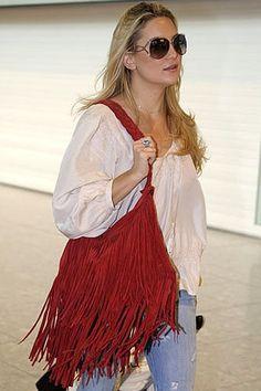 Kate Hudson with JJ Winters red fringe bag