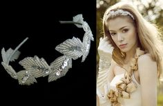 Sequin and beaded leafy headband: £105.00 (G05)