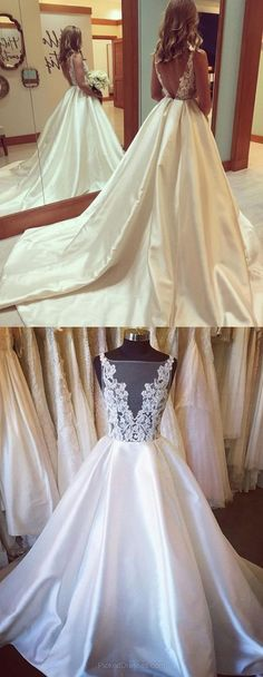 2017 wedding dress, long wedding dress with train, wedding dress with train