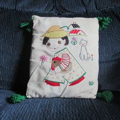 Floss embroidery pillow I made for my daughter when she was quite young..some of the floss has deteriorated over the years..but it still looks pretty good..considering it's age..lol....