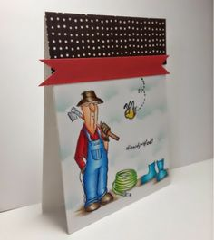 Art Impressions Hampton Art Clear Garden Stamp Set. Howdy-Hoe! Farmer with boots, bee and hose masculine (or not) card.  SO CUTE!!