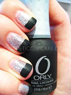 Trendy Nails Design Black Tips Awesome Grey Nail Designs, Winter Nail Designs, Acrylic Nail Designs, Burgundy Nails, White Nails, Pink Nails, New Nail Colors, Silver Nails, Silver Glitter