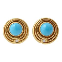 Lagos Turquoise Earrings | From a unique collection of vintage clip-on earrings at https://www.1stdibs.com/jewelry/earrings/clip-on-earrings/