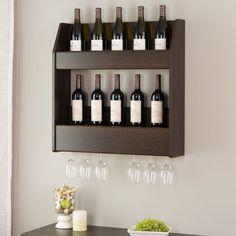 Wine Liquor Floating Dark Brown Wall Mount Duel Storage Rack free shipping…