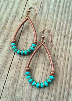 Turquoise Earrings, Turquoise Jewelry, Copper Earrings, Copper Jewelry