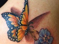 3d tattoo schmetterling mit blume tattoo