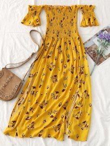 e7824eb43098 Floral Slit Smocked Off Shoulder Midi Dress
